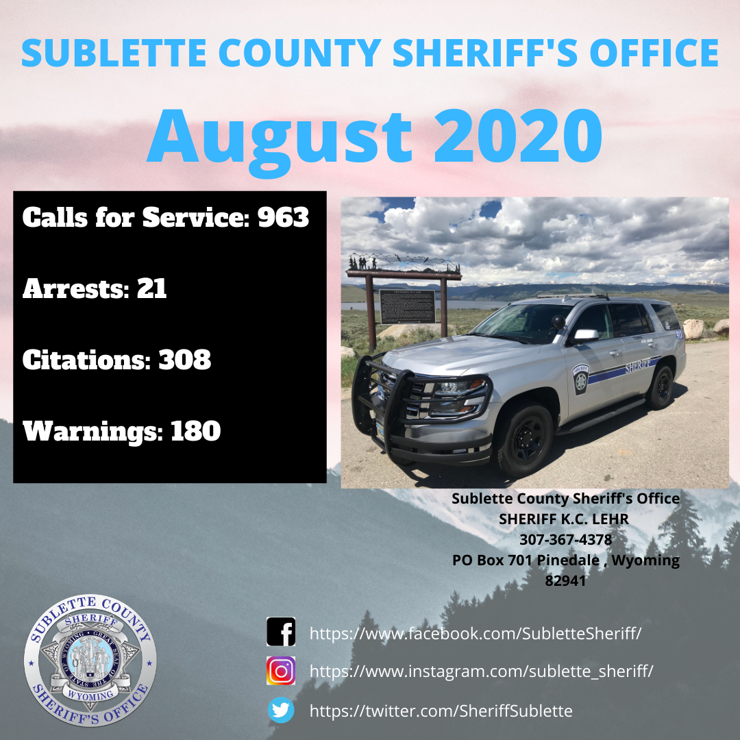 August 2020 Stats for SCSO