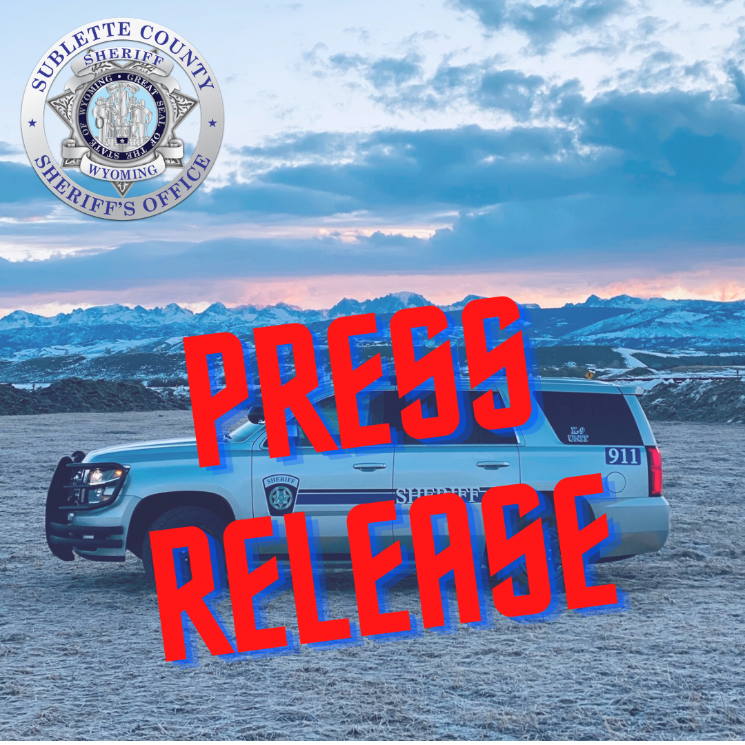 (Pinedale, Wyo – December 29th, 2020) The Sublette County Sheriff's Office and Tip Top Search and rescue responds to a vehicle in icy water.
