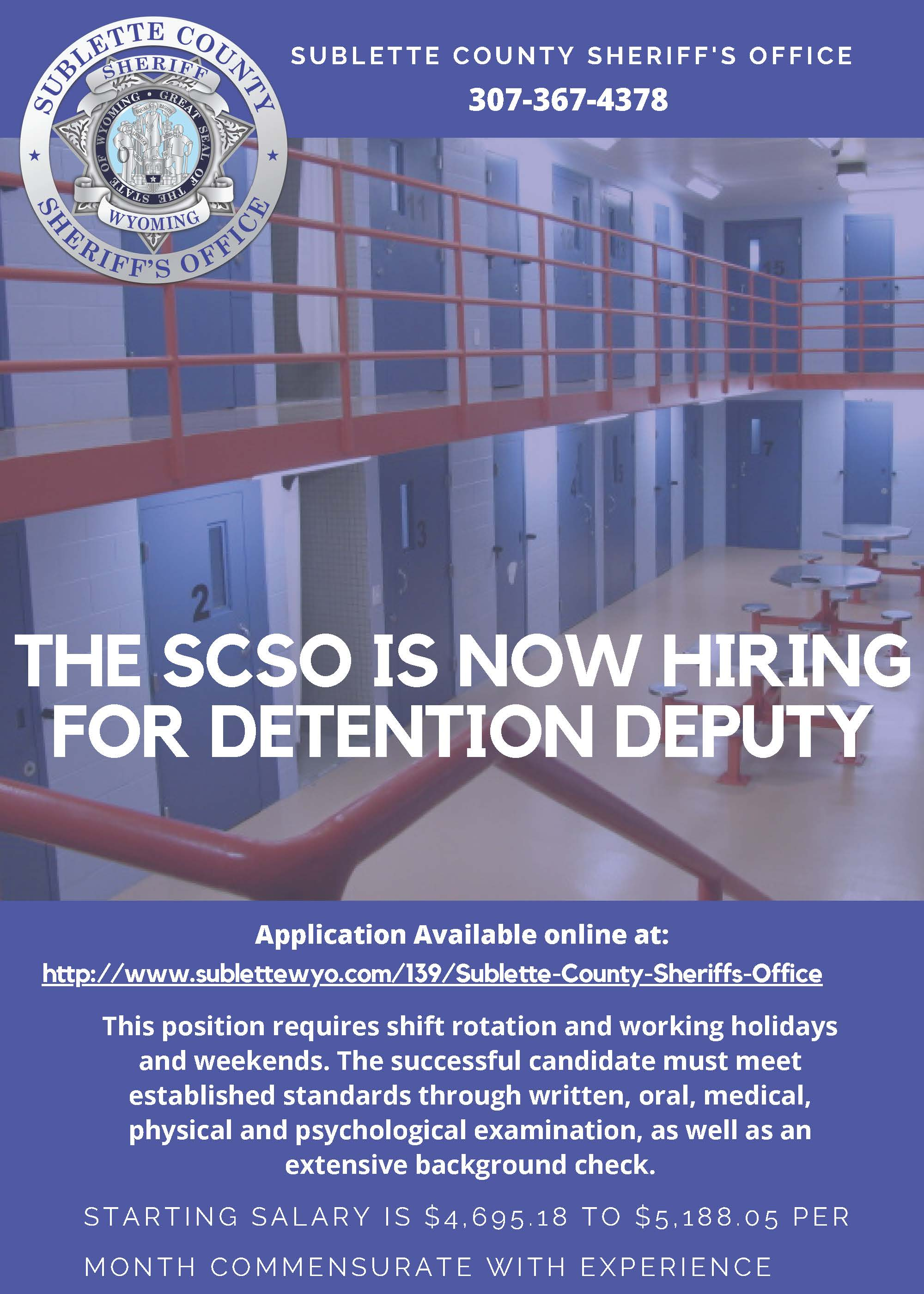 SCSO accepting applications for Detention Deputy