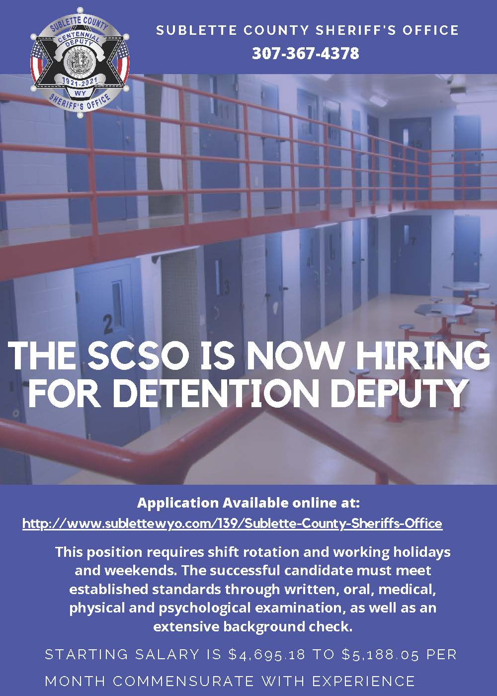 SCSO seeking qualified candidates for Detention Deputy