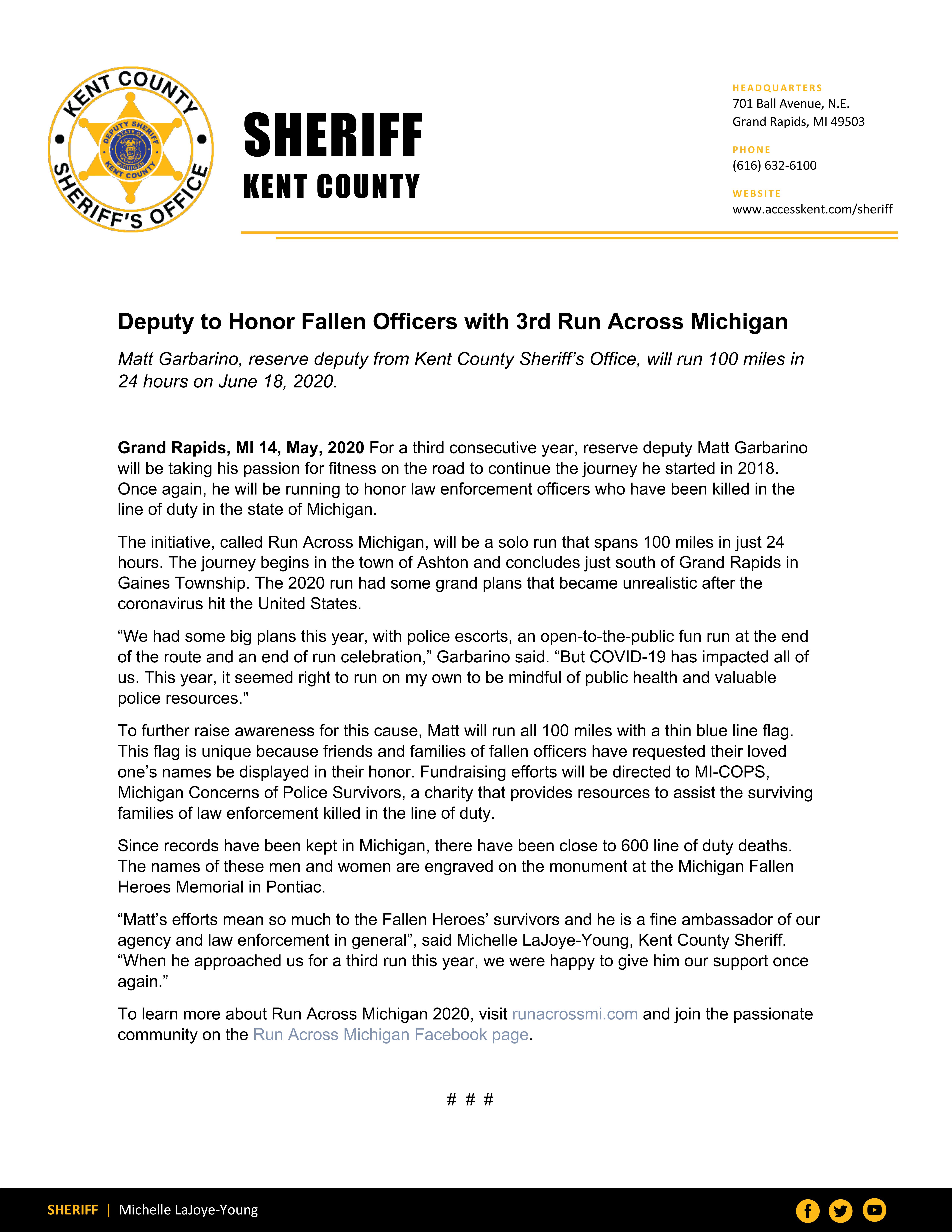 Reserve Deputy Honors Fallen Officers in Run Across Michigan