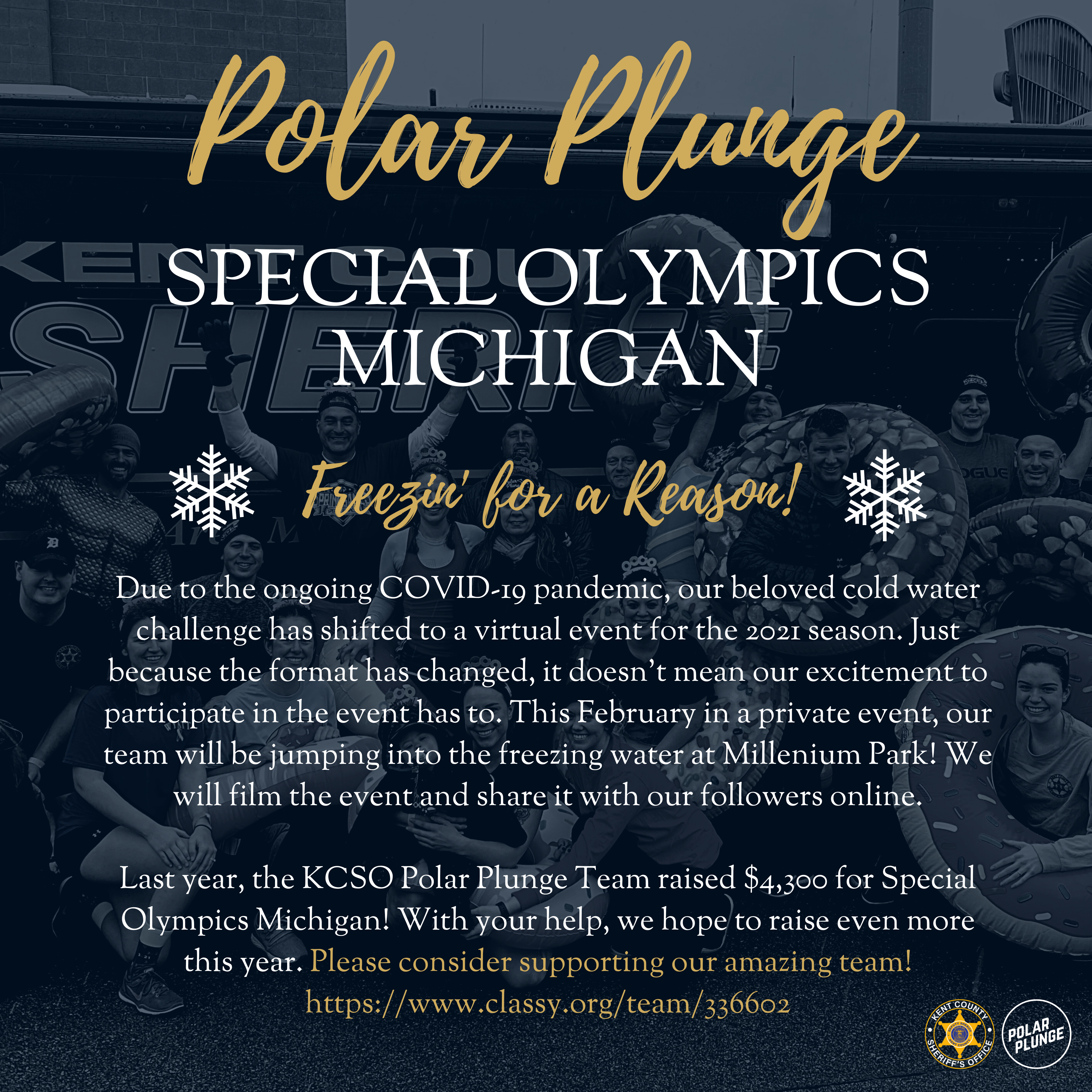 Team KCSO at Polar Plunge 2021 for Special Olympics Michigan